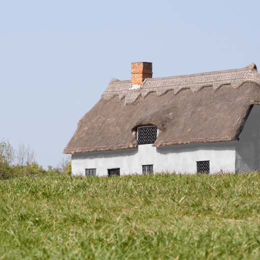 Flanders Grey by Mylands of London on a thatched cottage