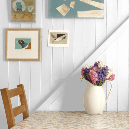 Drizzle by Little Greene on a dining room wood panelled wall