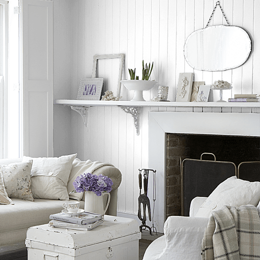 Marshmallow Snow by Sanderson on a lounge wood panelled wall