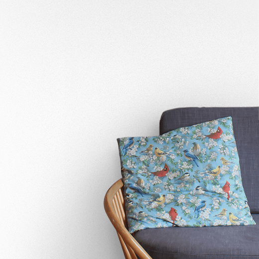Airlane Blue by Sanderson on a sitting room wall