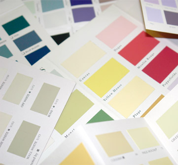 Colour cards from various brands
